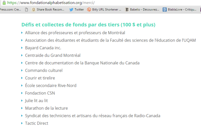 fondation alphabetisation contribution de plus de 100 $