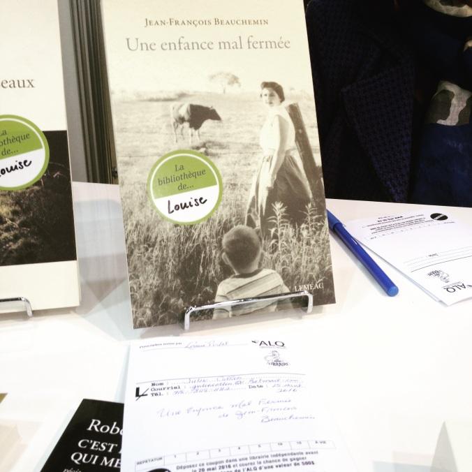 Louise Portal m'a recommandé le livre Une enfance mal fermée de Jean-François Beauchemin