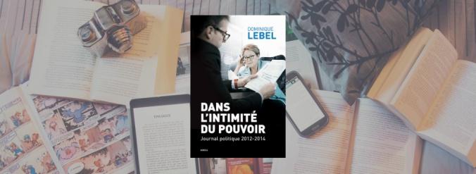 Couverture du livre de Dans l'intimité du pouvoir, journal politique 2012-2014 de Dominique Lebel, paru aux Éditions du Boréal.
