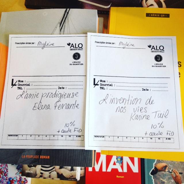 Les deux prescriptions littéraires reçues à la Librairie du Quartier, lors de la Journée des librairies indépendantes.