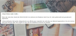 Extrait du courriel reçu de confirmation du don de 150$ à Collège Frontière / Frontier College.