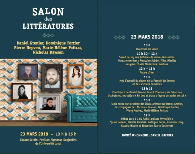 Programmation officielle du 4e Salon des littératures.