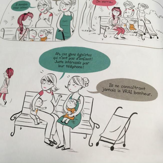 Extrait de la bande dessinée Ma vie avec un scientifique : la fertilité d'India Desjardins et Bach.