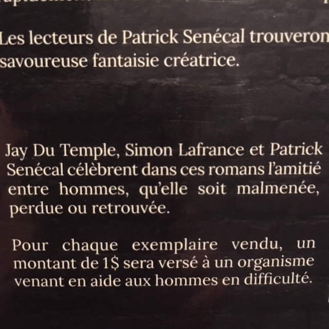 Extrait de la 4e de couverture de Histoires de gars de Jay Du Temple, Simon Lafrance & Patrick Senécal.