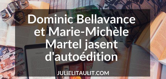 Dominic Bellavance et Marie-Michèle Martel jasent d'autoédition.