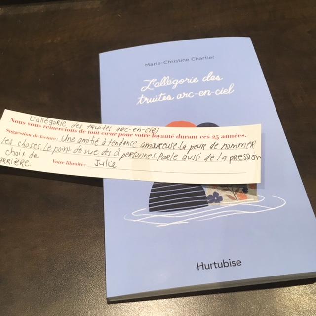 Courte critique sur le roman L'allégorie de la truite arc-en-ciel de Marie-Christine Chartier.